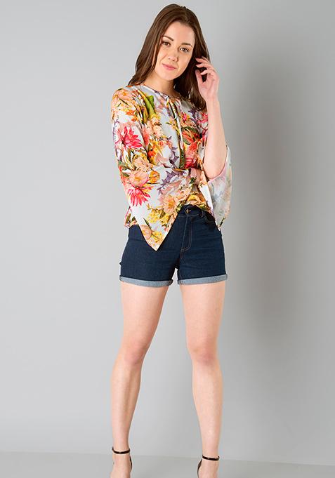 Slit Bell Sleeve Top - Floral