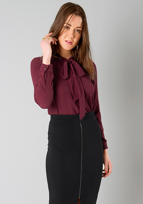 Blistering Pussy Bow Blouse - Oxblood