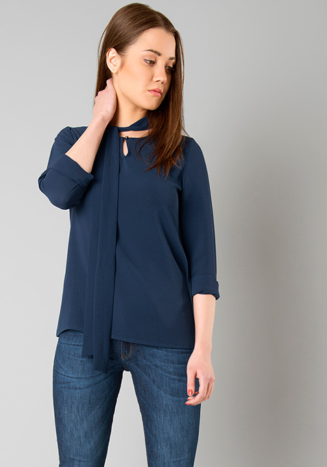Blistering Pussy Bow Blouse - Navy