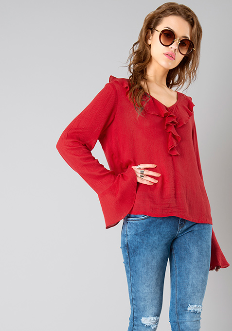 Flute Sleeve Ruffled Top - Pink