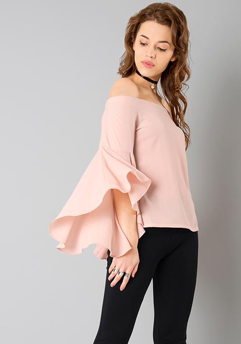 Flutter Sleeve Bardot Top - Blush