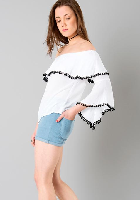 Pom Pom Off Shoulder Top - White