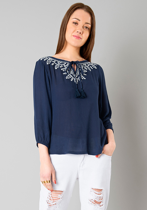 Navy Embroidered Peasant Top