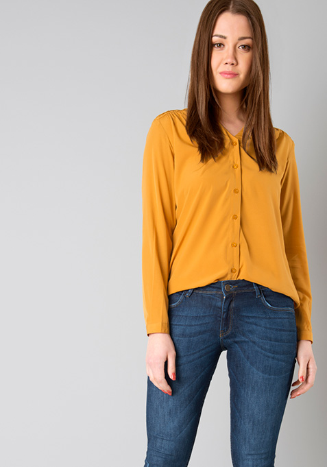 Pleated Shoulder Shirt - Mustard