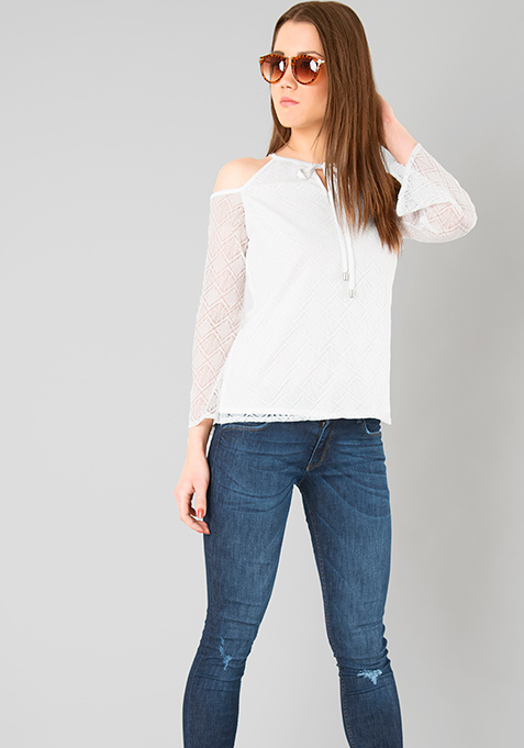 Lace Cold Shoulder Top - White