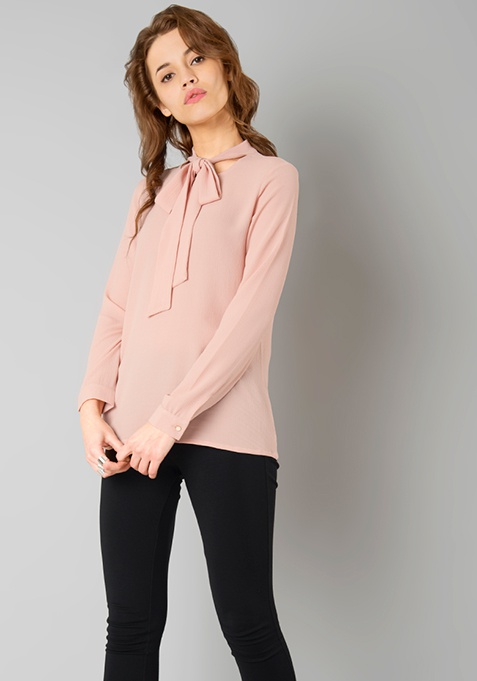 Blistering Pussy Bow Blouse - Blush