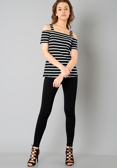 Strappy Cold Shoulder Tee - Stripes
