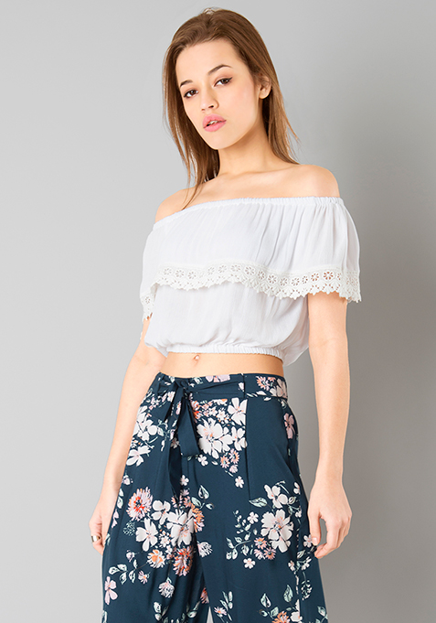 White Off Shoulder Crop Top