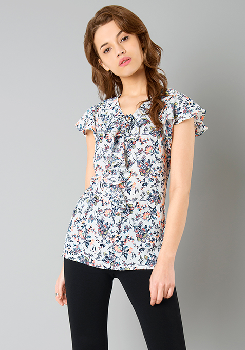Ruffle Rage Blouse - Floral