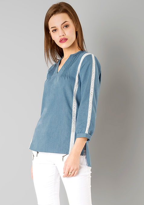 Lace Edged Denim Blouse