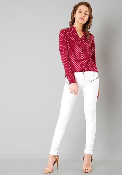Pleated Shoulder Shirt - Maroon Polka