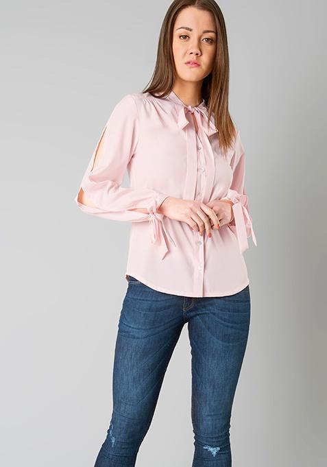 Slit Pussy Bow Shirt - Blush