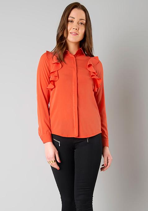 Ruffled Sides Shirt - Orange