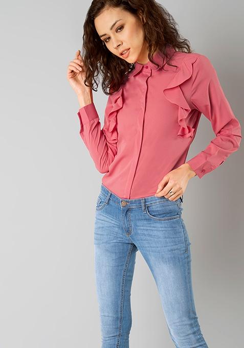 Ruffled Sides Shirt - Pink