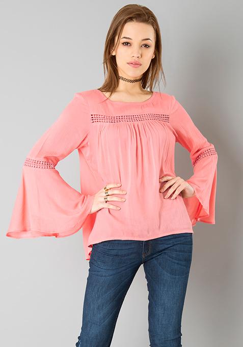 Pink Bell Sleeve Peasant Top