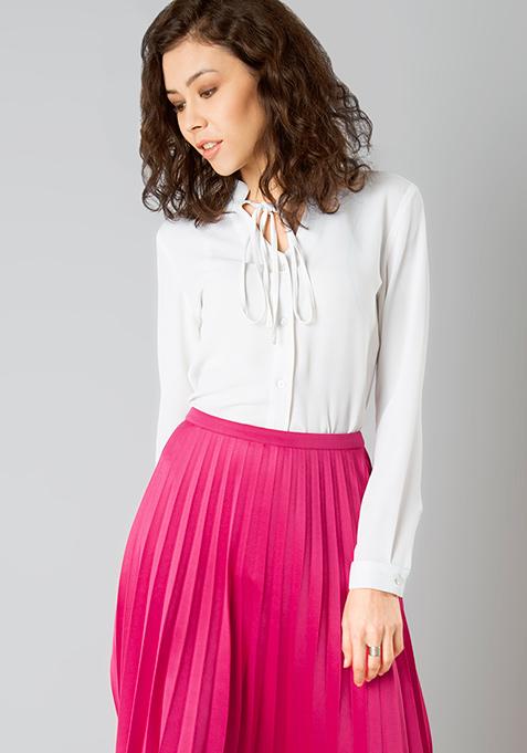 Skinny Tie Shirt - White