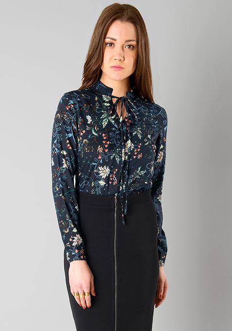 Skinny Tie Shirt - Floral