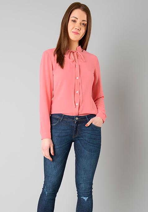 Skinny Tie Shirt - Coral