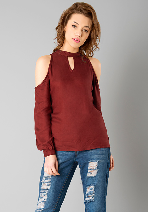 Choker Halter Top - Oxblood