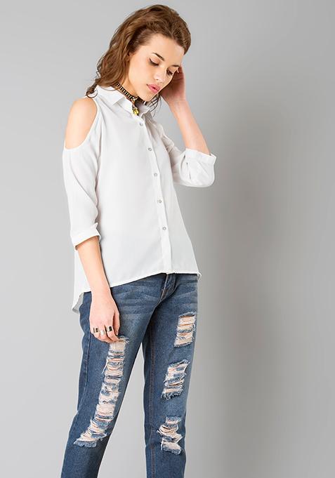 White Cold Shoulder Shirt