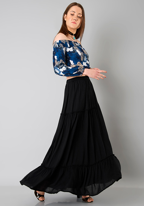 Smocked Off Shoulder Top - Abstract