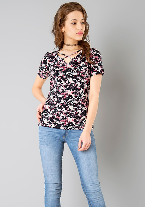 Cross Band Tee - Butterfly Print