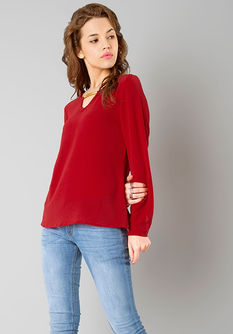 Metal Bar Blouse - Red