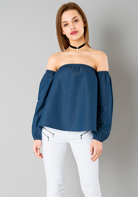 Dark Denim Bardot Top
