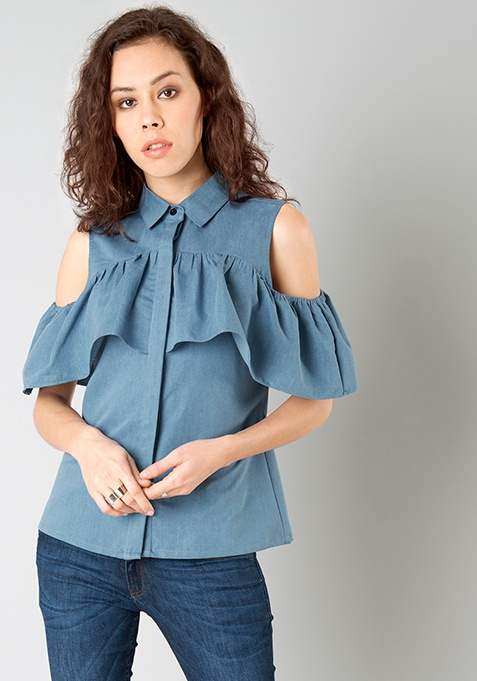 Ruffled Cold Shoulder Shirt - Denim