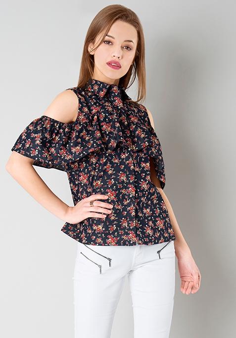 Ruffled Cold Shoulder Shirt - Navy Floral