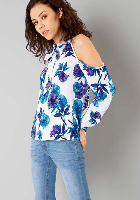 Blue Bloom Cold Shoulder Top