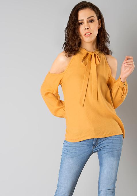 Mustard Muse Cold Shoulder Top
