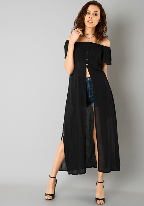 Off Shoulder Maxi Top - Black