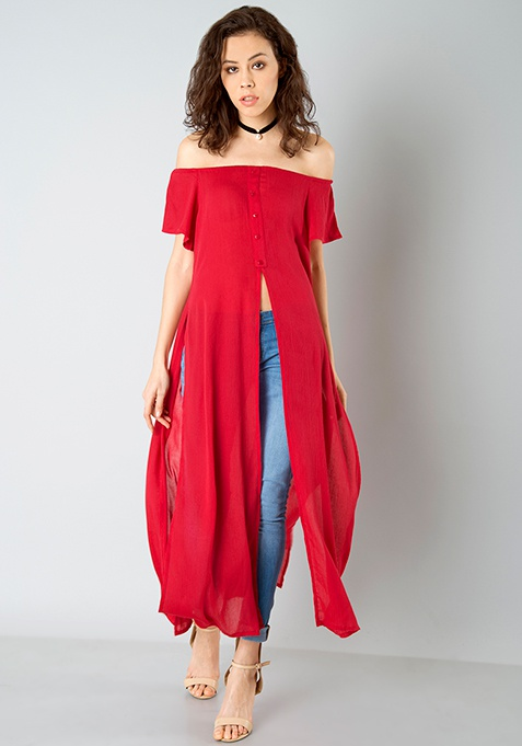 Off Shoulder Maxi Top - Cerise