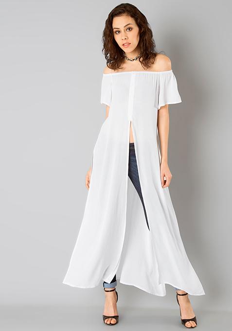Off Shoulder Maxi Top - White