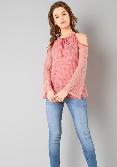 Lace Cold Shoulder Top - Pink