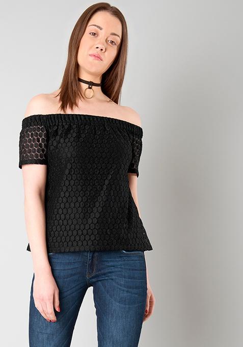 Bardot Bish Top - Black Lace