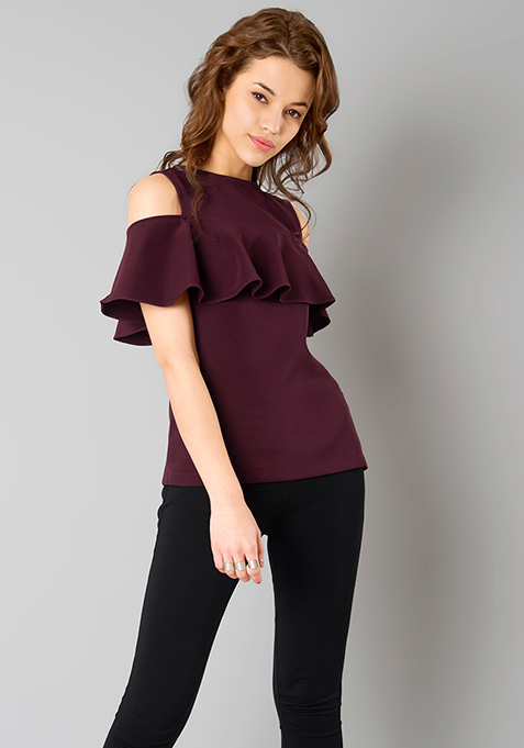 Ruffled Cold Shoulder Top - Wine