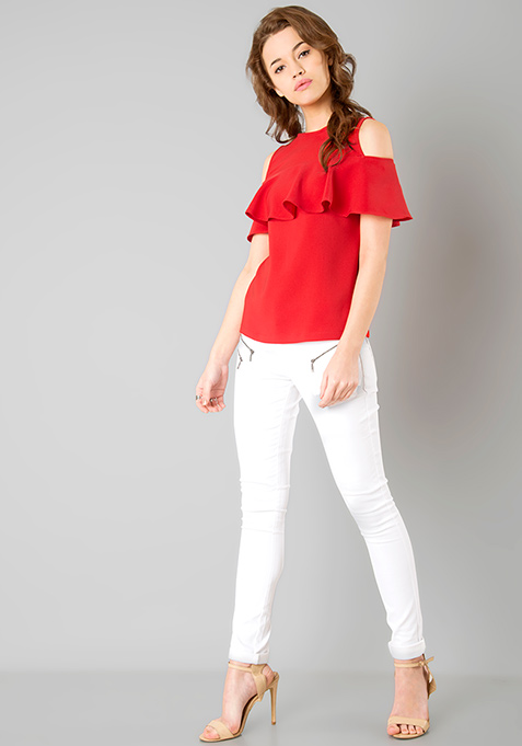 Ruffled Cold Shoulder Top - Red