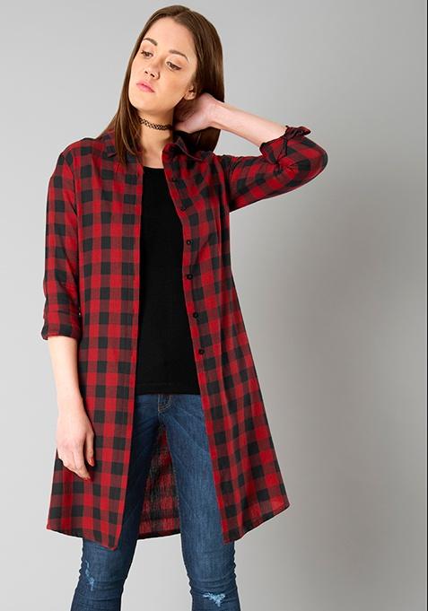 Tartan Longline Shirt - Red