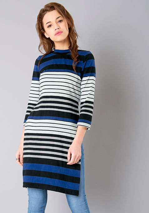 Turtleneck Longline Tee - Blue Stripes