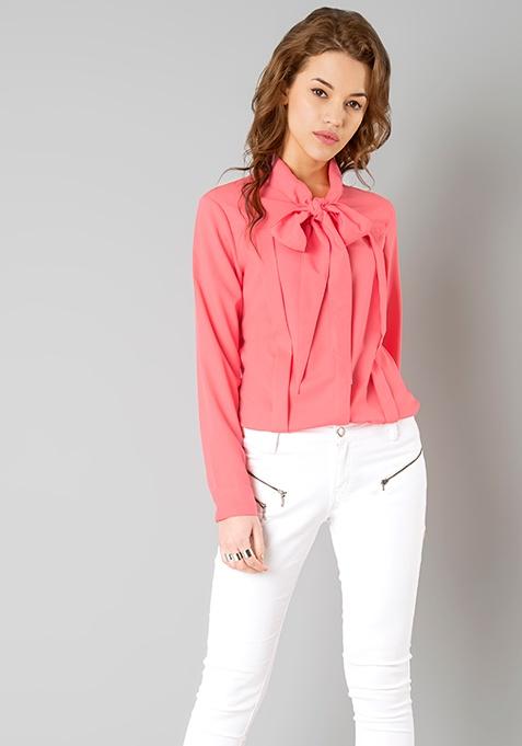 Coral Bow Shirt