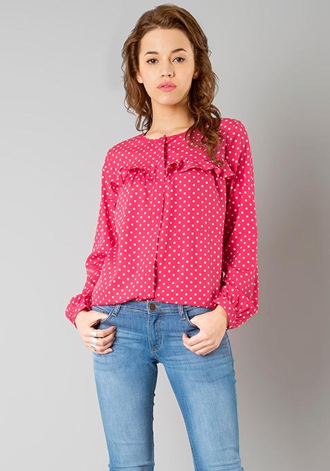 Ruffled Yoke Shirt - Pink Polka