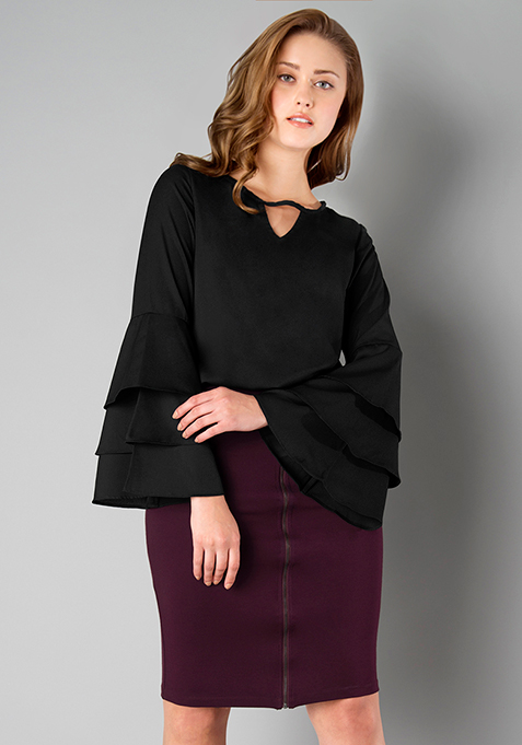 Three Layer Bell Sleeve Top - Black