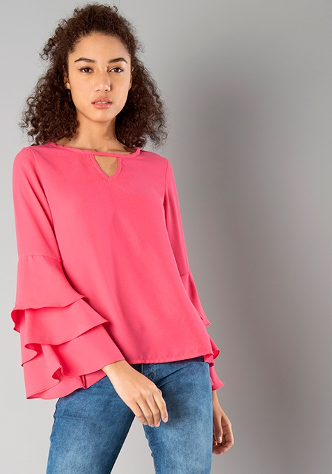 Three Layer Bell Sleeve Top - Coral