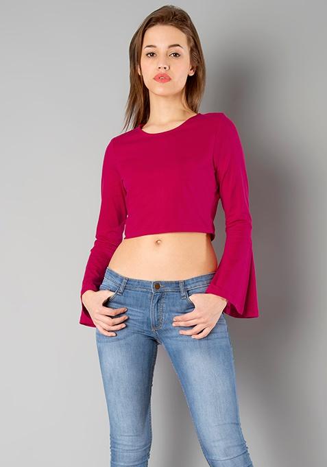 BASICS Bell Sleeves Crop Top - Pink