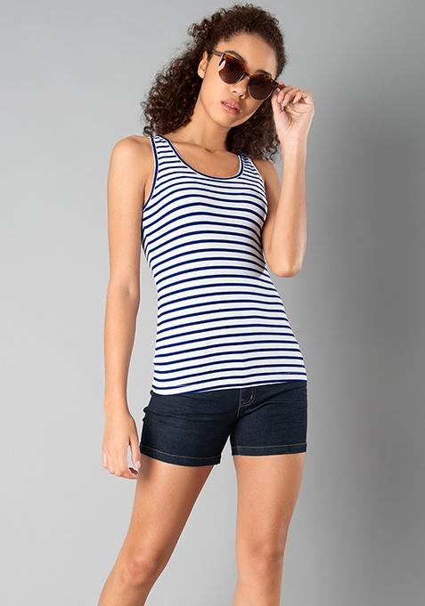 BASICS Jersey Tank Top - Blue Stripes