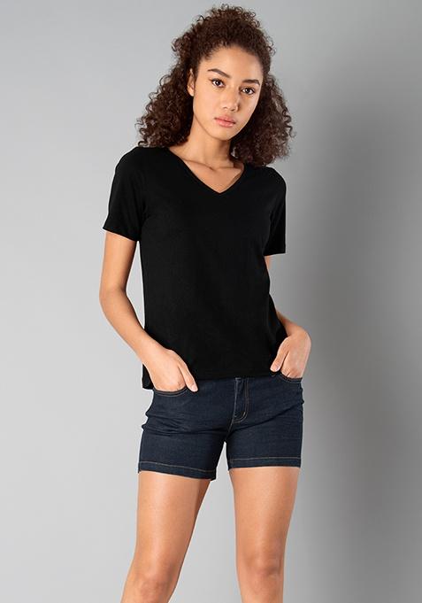BASICS V Neck Top - Black