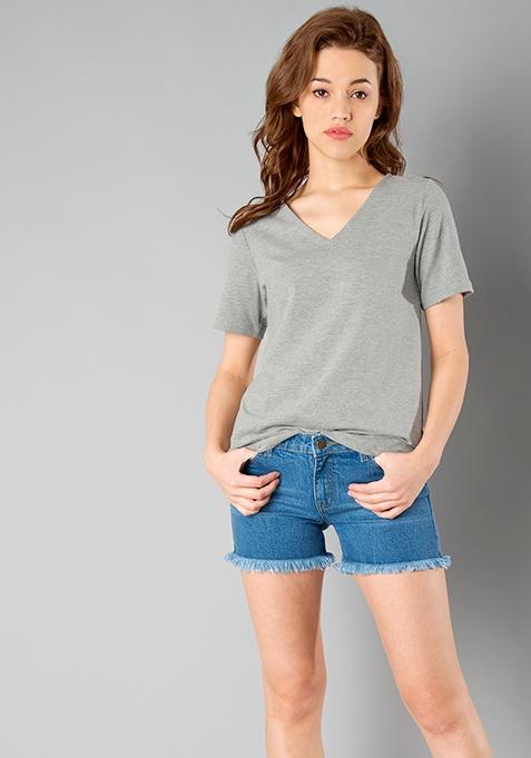 BASICS V Neck Top - Grey