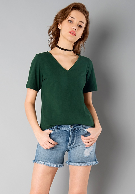 BASICS V Neck Top - Dark Green